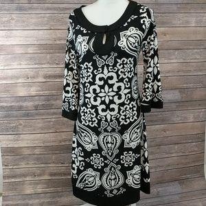 WHBM black white keyhole dress medium